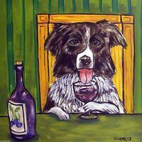 border collie at the wine bar dog art tile coaster gift modern