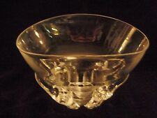 Steuben Crystal Bowl with 4 footed horns/prongs and storage bag