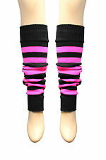 Girls Teen 80's Dance Plain Ribbed Leg Warmers Women Legwarmer Fancy Dress Tutu Black & Fluorescent Pink Stripe