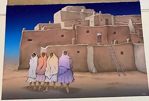 """R.C. Gorman """"Taos Night"""" original signed and numbered lithograph 138/200"""