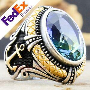 925 Sterling Silver Rainbow Aquamarine Stone Turkish Handmade Men's Ring AllSize