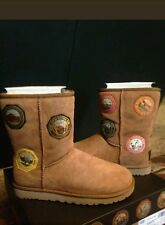 NIB UGG WOMENS CLASSIC SHORT NATIONAL PARK PATCH CHESTNUT SUEDE BOOTS SZ 6 HTF