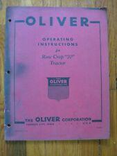 Oliver Row Crop 70 Tractor operators manual ORIGINAL