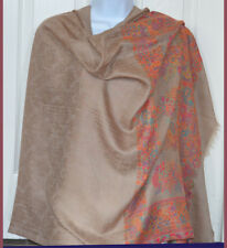 Handwoven Pashmina Cashmere Blend Tan Color Floral Paisley Shawl From India