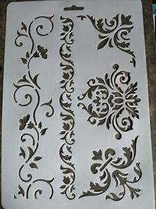 Stencil Schablone Möbel Textilgestaltung Barock Vintage Shabby Chic A 4 NEU