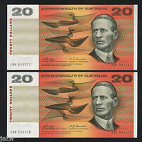Australia R-403. (1968) 20 Dollars - Phillips/Randall.. UNC - CONSECUTIVE Pair