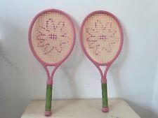2 X Barbie Pink Tennis Racket With Green Foam Handle