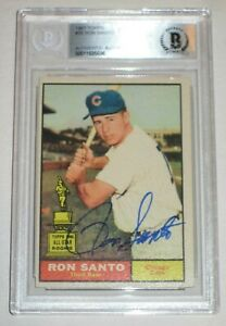 RON SANTO Signed 1961 TOPPS ROOKIE Card #35 Beckett Authenticated & Slabbed