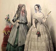 LE FOLLET 1845 Hand-Colored Fashion Plate #1223 Toilette de Ville & Bal PRINT