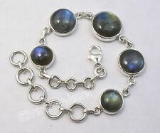 "925 Sterling Silver BLUE FLASH LABRADORITE MODERNISTIC Heavy Bracelet 8"""
