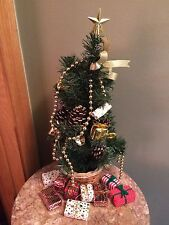 "16.5"" small Christmas tree with miniature presents gold beads basket base star"