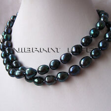 """31"""" 7-9mm Peacock Rice Freshwater Pearl Necklace Jewelry Fashion U"""