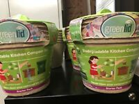 Four Count GreenLid Biodegradable Kitchen Compost Bin Starter Pack