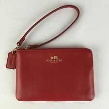 NWT Coach F66449 Wristlet Armor Leather Corner Zip Wallet Classic Red