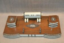 Vintage and Huge Art Nouveau Wood Plastic Ceramic and Silver Desk Inkwell