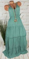 NEU ITALY SOMMER MAXI DRESS BODENLANGES EMPIRE KLEID CRINKLE PETROL 36-40