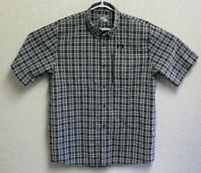 Under Armour Mens Black Plaid Button Front Short Sleeve UA Large Shirt EUC