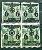 1940 ORIGINAL W.W.2 GERMAN GG BLOCK OF 4 STAMPS O/PRINT 6 GR. MNH