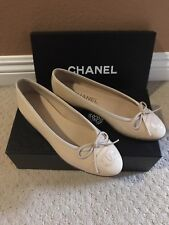 CHANEL SHOES BALLERINA PATENT LEATHER FLAT BOW BEIGE CC LOGO DUST BAG 35.1/2