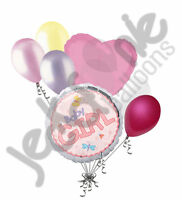 7 pc Baby Girl Pink Round Balloon Bouquet Decoration Bug Shower Welcome Home