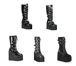 "Demonia SWING-220 221 815 Women's 5 1/2"" Goth Punk Cyber Platform Knee Boots"
