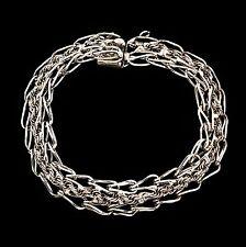 Antique Vintage Art Deco Retro Sterling Silver Rhodium Plated Charm Bracelet!