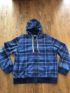 EUC Polo Ralph Lauren Full Zip Hoodie Jacket XXL Blue Plaid Pocket 2XL