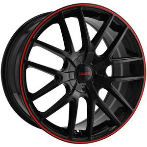 """Touren TR60 17x7.5 5x110/5x115 +42mm Black/Red Wheel Rim 17"""" Inch"""