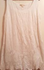 NOUGAT London White Cotton Floral Embroidered/Sequin Lined Dress SIZE 4 USA 12