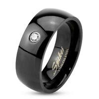 Ring Kristalle klassisch Schwarz Edelstahl Unisex Damenring Herrenring Verlobung