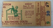 1950 Baltimore Colts Vs Redskins Ticket Stub NFL Inaugural First Game EVER