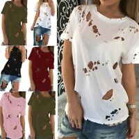 Womens Girl Short Sleeve T-shirt Loose Casual Ripped Beggar Tee Shirt Top Summer