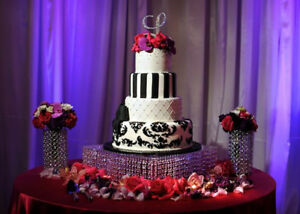 """12"""" Square Acrylic Crystal Cake Stand with Acrylic Crystals for All Events"""