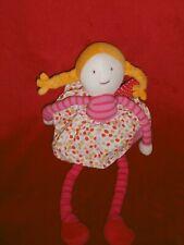 Doudou Poupée chiffon Popinelle Rose Robe A Pois 34 cm Moulin Roty