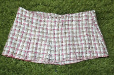 Vintage Look - 1960s Style Micro Mini Skirt Pink Brown White Check - size 8 - 10