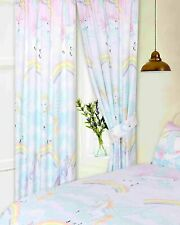 "UNICORN 66"" x 72"" RAINBOW MYSTICAL READY MADE PENCIL PLEAT CURTAINS KIDS CLOUDS"