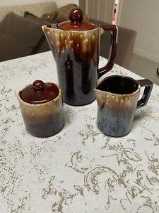 MCM VINTAGE JAPANESE DRIP GLAZE BROWN 3 PIECE COFFEE SET  + SUGAR BOWL + CREAMER