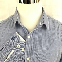 Penguin Mens Long Sleeve Shirt Size 161/2 34/35 Blue checks Heritage Slim Fit