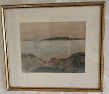 Original Pastel Painting Nautical Sailboat Bar Harbor, ME Signed E J Read Framed