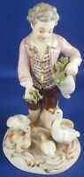 Antique 19thC Meissen Porcelain Young Man Geese Figurine Figure Porzellan Figur