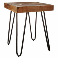 Mindful Living Midcentury Modern Mango Wood End Table with Chevron Top, Small
