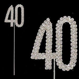 Silver & Diamante Birthday / Anniversary Number Cake Topper - Choose Design