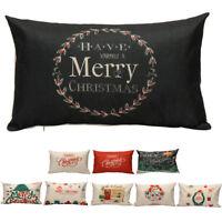 2018 Christmas Rectangle Pillow Case Sofa Waist Throw Cushion Cover Home Decor
