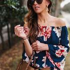 Womens Chiffon Off Shoulder Blouse Long Sleeve T-Shirts Summer Casual Tops Tee