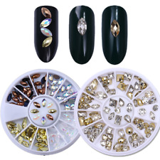 2x Nail Art Rhinestones Marquise Heart Water Drop Manicure 3D Decoration Wheel