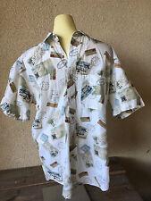 Pendleton Mens Hawaiian Hawaii Shirt Travel Theme Postmarks Bermuda Cotton M
