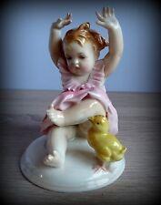 Antique Karl Ens Rare Girl Multicolor Porcelain Figurine Germany Signed 1940's
