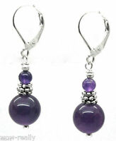 Fashion Natural Amethyst Gemstone Beads Silver Leverback Dangle Earring