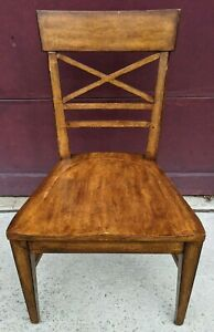 Ethan Allen Tango Cross Back Wood Seat Dining Side Chair Chairs
