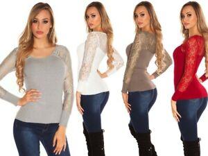 Maglia donna maglioncino pullover maglione maniche lunghe in pizzo aderente